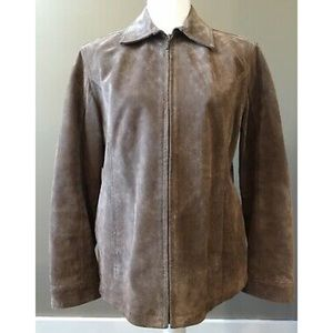 CHICO'S Sz 1 Lined Full Zip Suede Leather Jacket